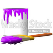 Clipart Illustration of a Wood Handled Paintbrush With Purple Paint On The Bristles, Resting In Front Of A Can Of Purple Paint © djart #30597