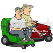 Clipart Illustration of Two Guys Operating Green And Red Riding Lawn Mowers © Dennis Cox #30742