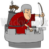 Clipart Illustration of an Archer Soldier In A Tower, Defending A Fortress With A Bow And Arrows © Dennis Cox #30744