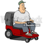 Clipart Illustration of a White Man Operating A Red Riding Lawn Mower While Landscaping © Dennis Cox #30745