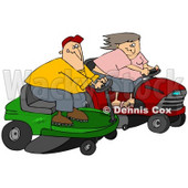 Clipart Illustration of a White Couple, A Man And Woman, Racing Eachother On Riding Lawn Mowers © djart #30801