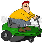 Clipart Illustration of a White Guy Biting His Lip While Steering A Green Riding Lawn Mower In A Race © djart #30802