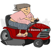Clipart Illustration of a White Woman Having Fun, Her Hair Blowing Back In The Wind, While Racing A Red Riding Lawn Mower © djart #30803