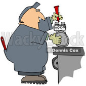 Clipart Illustration of a White Guy In Coveralls, Working On A Meter © Dennis Cox #30877