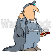 Clipart Illustration of a White Guy Carrying Coveralls © Dennis Cox #30878