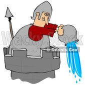 Clipart Illustration of a Soldier Atop A Tower, Pouring A Pail Of Water Down Onto An Intruder © djart #30921