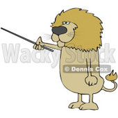 Clipart Illustration of a Male Lion Holding A Pointer Stick And Standing Up On His Hind Legs © Dennis Cox #31042