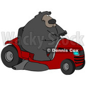 Clipart Illustration of a Big Bear Driving A Red Riding Lawn Mower © Dennis Cox #31043