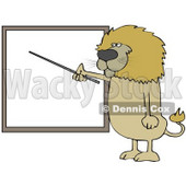 Clipart Illustration of a Male Lion Standing And Using A Pointer Stick To Discuss Rules On A Blank Board © Dennis Cox #31044