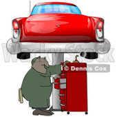 Clipart Illustration of a Black Male Mechanic Looking For Tools In A Red Tool Box, Under A Red Classic Car Up On A Lift In A Garage © Dennis Cox #31522
