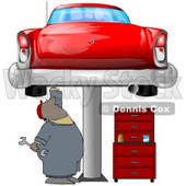 Clipart Illustration of a Black Male Mechanic Holding A Wrench And Working On A Red Classic Car Up On A Lift In A Garage © Dennis Cox #31523