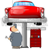 Clipart Illustration of a White Male Mechanic Holding A Wrench And Working On A Red Classic Car Up On A Lift In A Garage © djart #31524