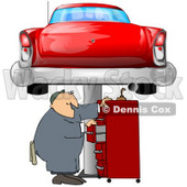 Clipart Illustration of a White Male Mechanic Looking For Tools In A Red Tool Box, Under A Red Classic Car Up On A Lift In A Garage © Dennis Cox #31525