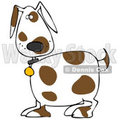 Clipart Illustration of a Cute White Dog With Brown Spots, Wearing A Collar And Looking At The Viewers © djart #31526