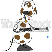 Clipart Illustration of a White And Brown Spotted Dog Wearing Boots, Standing Up On His Hind Legs And Operating A Power Washer © Dennis Cox #31527
