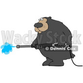Clipart Illustration of a Big Bear Operating A Power Washer © Dennis Cox #31528