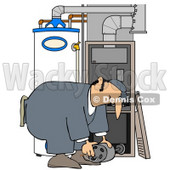 Clipart Illustration of a Furnace Repair Man Bending Over While Working On A Piece © Dennis Cox #31620