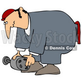 Clipart Illustration of a Male Mechanic In Coveralls, Bending Over To Lift An Auto Part © Dennis Cox #31621