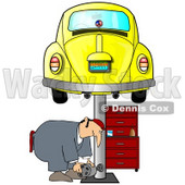 Clipart Illustration of a Male Mechanic Bending Over To Lift A Part While Working Under A Yellow Slug Bug Car On A Lift In A Garage © djart #31622