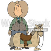 Clipart Illustration of a White Cowboy in a Hat, Standing Behind His Short, Chubby Pony © Dennis Cox #31685