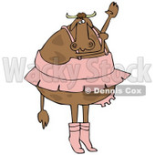 Clipart Illustration of a Chubby Ballerina With Udders, Dancing Ballet In A Pink Tutu, Up On Tippy Toes And Reaching Upwards © Dennis Cox #31835