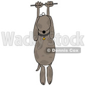 Clipart Illustration of a Helpless Brown Dog Hanging From a Wire © djart #32293