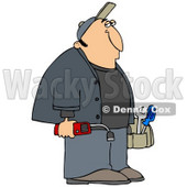 Clipart Illustration of a Gas Man Carrying Tools And A Leak Detector © Dennis Cox #32296