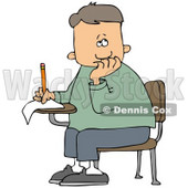 Clipart Illustration of a Nervous School Boy Seated At His Desk, Trying To Think Of The Right Answers For His Test © Dennis Cox #32298