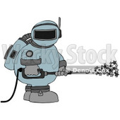Clipart Illustration of an Astronaut In A Space Suit, Operating A Power Washer And Spraying Out Stars © Dennis Cox #32299