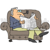 Clipart Illustration of a Relaxed Man Sitting On A Couch, Smoking A Pipe And Reading A Newspaper © Dennis Cox #32384