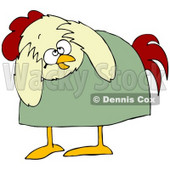 Clipart Illustration of a Scared Chicken In A Green Shirt, Bending Over And Covering Its Head © Dennis Cox #32386