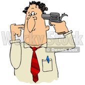 Clipart Illustration of a Frustrated Or Depressed Businessman Holding A Gun To His Head © Dennis Cox #32387
