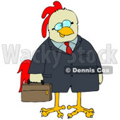 Clipart Illustration of a Chicken Businessman In A Jacket, Carrying A Briefcase © Dennis Cox #32389