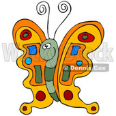 Clipart Illustration of a Colorful Orange Butterfly With A Green Body And Blue, Red And Green Designs On Its Wings © Dennis Cox #32805