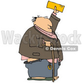 Clipart Illustration of a Senior Man Holding Up His Social Security Benefit Check © djart #33430