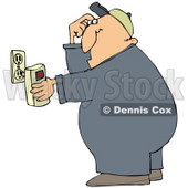 Clipart Illustration of a Man Scratching His Head While Plugging In A Detector © djart #33431