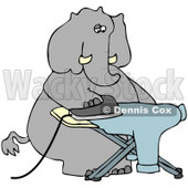 Clipart Illustration of a  Humanlike Elephant Ironing A Shirt On An Ironing Board, On A White Background © Dennis Cox #33487