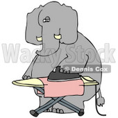 Clipart Illustration of a  Humanlike Elephant Ironing A Pink Cloth On An Ironing Board, On A White Background © Dennis Cox #33488
