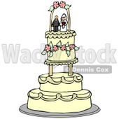 Clipart Illustration of a Bride And Groom Wedding Cake Topper Resting On The Upper Tier Of A Fancy Beige Floral Cake © Dennis Cox #33543