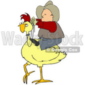 Clipart Illustration of a Western Cowboy Riding On A Yellow Chicken © Dennis Cox #33815