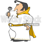 Clipart Illustration of an Elvis Impersonator In A White Costume, Dancing And Singing With A Microphone © Dennis Cox #33817