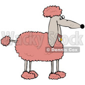 Clipart Illustration of a Fluffy Pink Groomed Poodle Dog In Profile © djart #33818