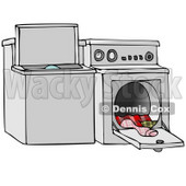 Clipart Illustration of a Top Loading Washing Machine And An Open Dryer With Warm Clothes © djart #33887