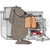 Clipart Illustration of a Spotted Brown Dog Pulling Warm Boxers Out Of A Dryer © Dennis Cox #33888