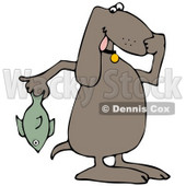 Clipart Illustration of a Brown Dog Holding A Stinky Dead Fish And Plugging His Nose © Dennis Cox #33891