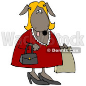 Clipart Illustration of a Blond Dog In A Red Dress, Carrying A Purse And A Bag While Shopping © djart #33892