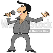 Clipart Illustration of An Elvis Impersonator In A Gray Costume, Dancing And Singing With A Microphone © Dennis Cox #33918