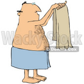 Clipart Illustration of a Man With A Hairy Chest And Balding Head, Wrapped In A Blue Towel, Holding Up A Clean Beige Towel © Dennis Cox #33919