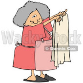 Clipart Illustration of a Gray Haired Lady In An Apron, Holding Up A Clean Beige Towel © Dennis Cox #33920