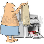Clipart Illustration of a Hairy Man Wrapped In A Towel, Holding Up A Clean Towel In Front Of A Washer And Dryer While Doing Laundry © djart #33921
